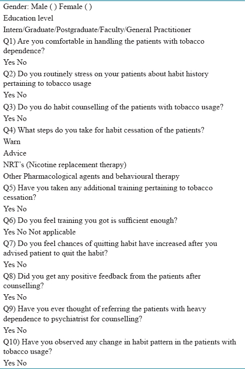 Table 1: The questionnaire for the study