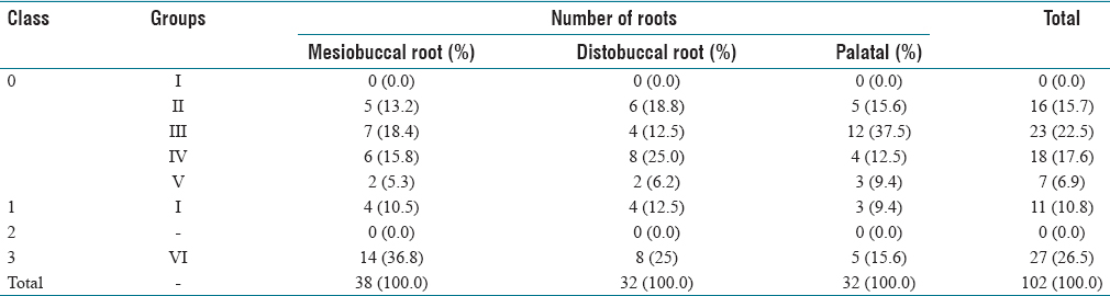 The relationship between the roots and furcation of the